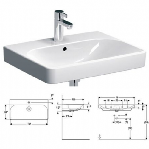 Geberit Smyle Square Basin - 60cm - In White With One Tap Hole & Overflow - Model 500.229.01.1